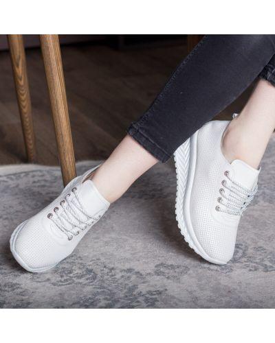 Кожаные белые кроссовки на платформе Fashion