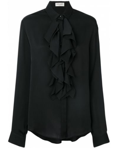 Классическая рубашка с оборками с длинным рукавом Saint Laurent