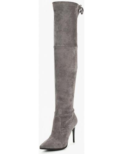 Ботфорты на каблуке замшевые серый Grand Style