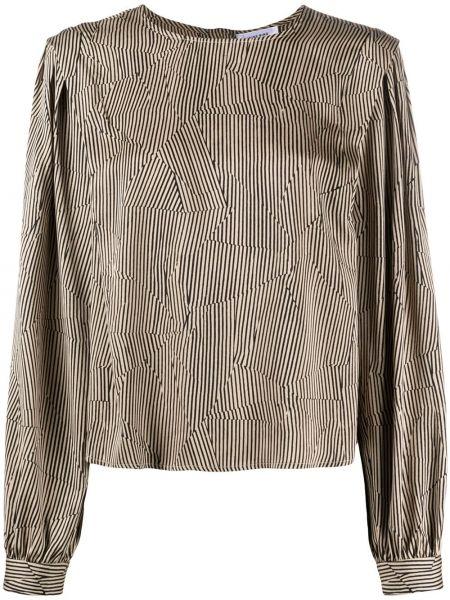 С рукавами шелковая блузка с длинным рукавом с вырезом круглая Anine Bing