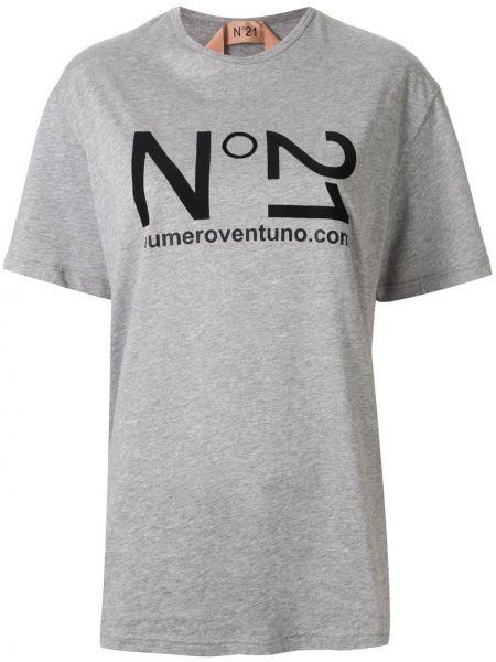 Хлопковая серая футболка с короткими рукавами N°21