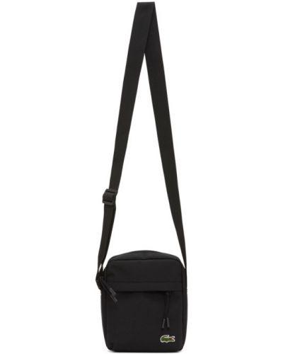Черная текстильная сумка мессенджер с заплатками двусторонняя Lacoste