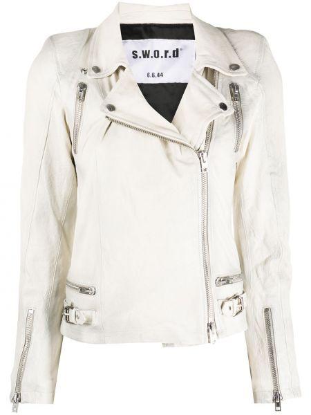 Белая куртка на молнии байкерская из вискозы S.w.o.r.d 6.6.44
