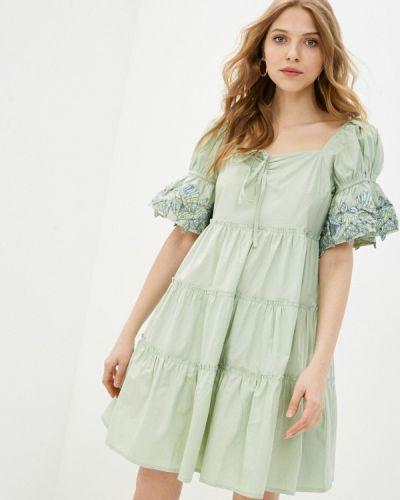 Зеленое платье с открытыми плечами Incity