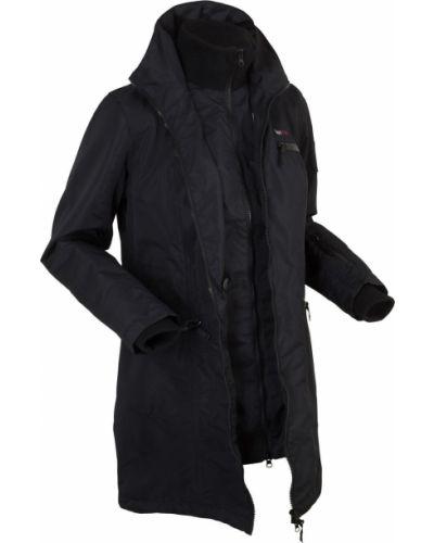 Черная куртка с капюшоном на молнии с карманами Bonprix