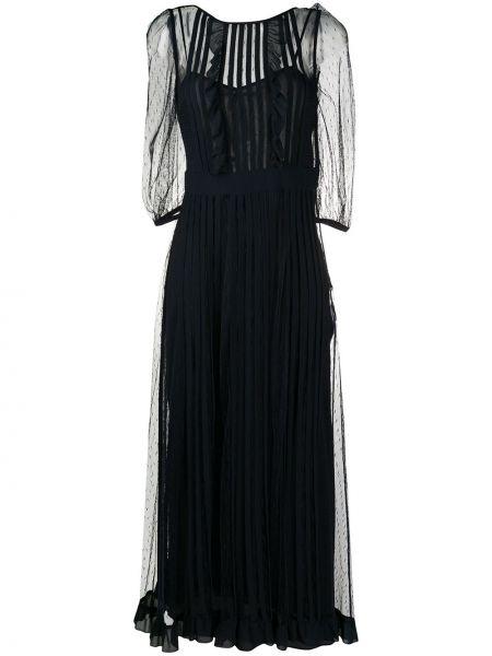 Czarna sukienka mini koronkowa krótki rękaw Redvalentino
