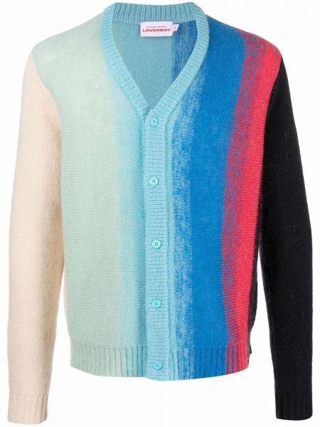 Niebieski sweter z dekoltem w serek Charles Jeffrey Loverboy