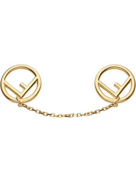 Брошь золотая позолоченная металлическая Fendi