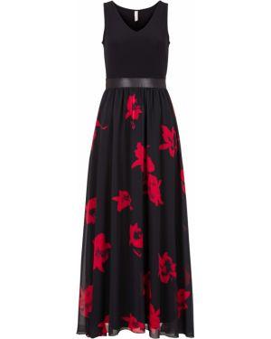 Облегающее платье с декольте с поясом Bonprix