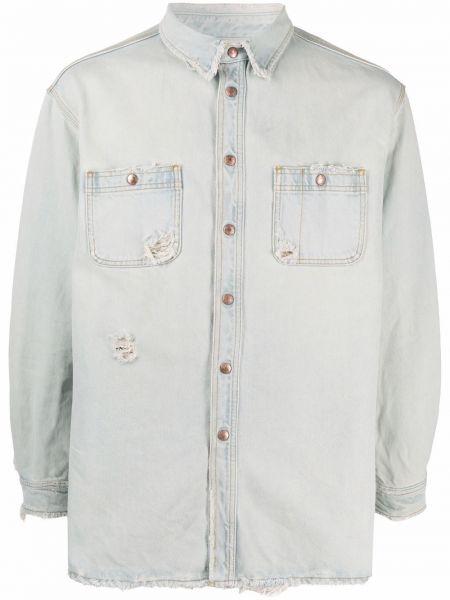 Niebieska koszula jeansowa bawełniana z długimi rękawami Prps
