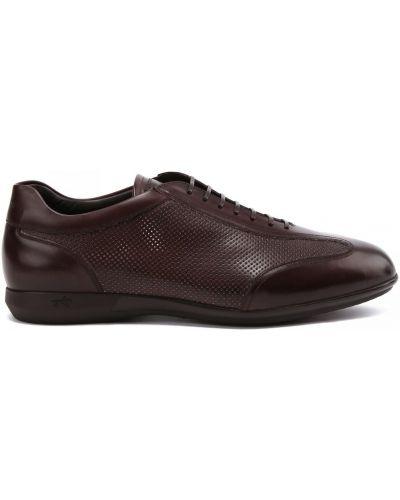 Коричневые кожаные кроссовки на шнуровке Franceschetti