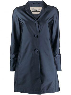 Однобортное синее пальто на пуговицах с карманами Herno