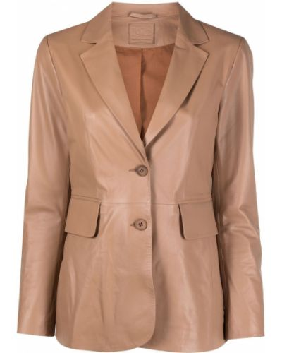 Однобортный коричневый кожаный удлиненный пиджак Desa 1972