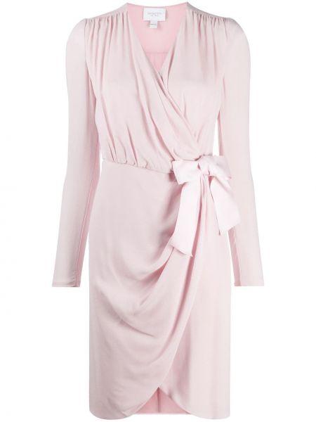 Шелковое розовое платье макси с V-образным вырезом с длинными рукавами Giambattista Valli