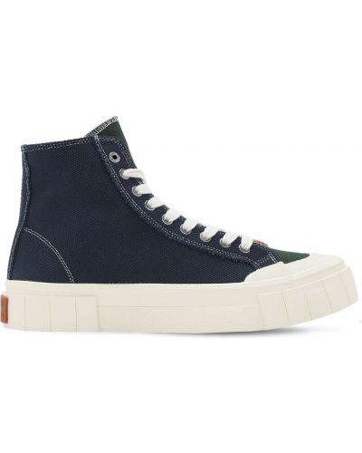 Кружевные синие высокие кроссовки на шнурках Good News