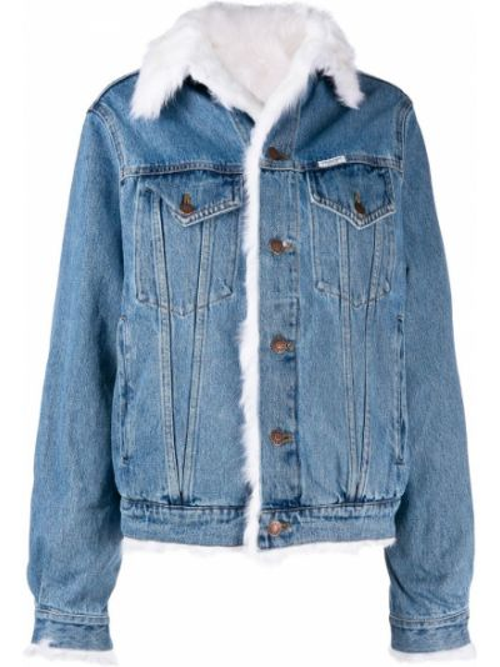С рукавами синяя джинсовая куртка из искусственного меха Forte Dei Marmi Couture