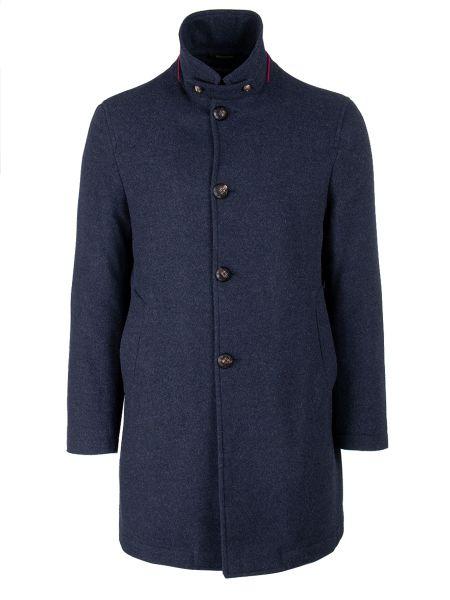 Синее шерстяное длинное пальто с воротником на пуговицах Montecore
