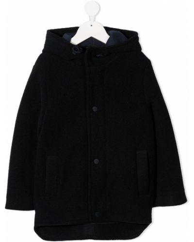Синее шерстяное длинное пальто с капюшоном Paolo Pecora Kids