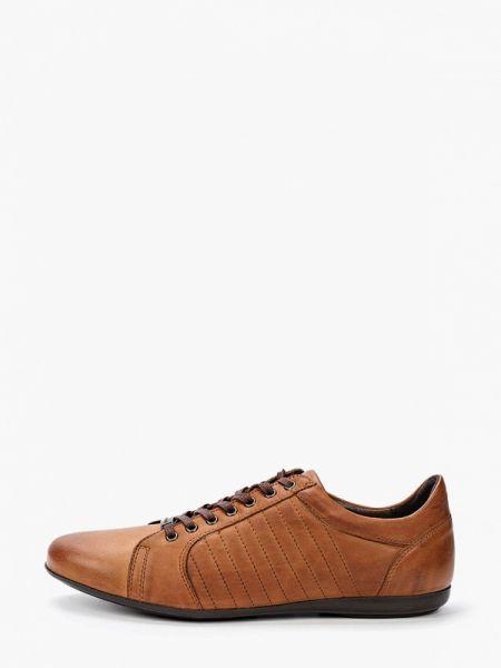 Коричневые кожаные кроссовки Wojas
