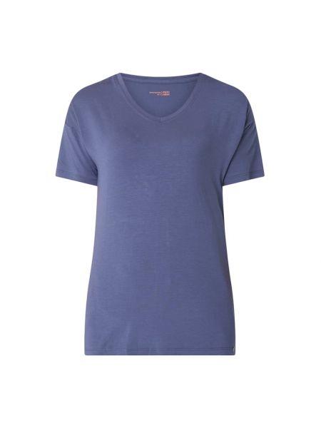 Niebieski piżama krótkie rękawy z dekoltem okrągły Schiesser