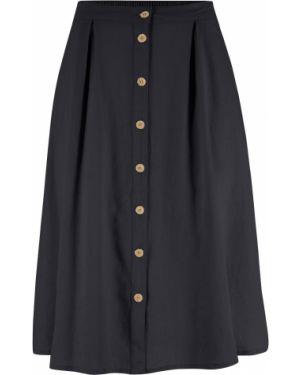 Черная ажурная льняная юбка макси на пуговицах Bonprix