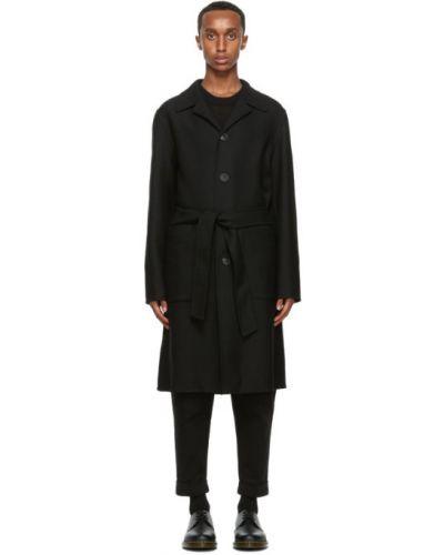 Czarny wełniany długi płaszcz z kołnierzem z klapami Ami Alexandre Mattiussi