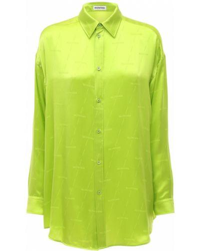 Зеленая рубашка на пуговицах жаккардовая Balenciaga
