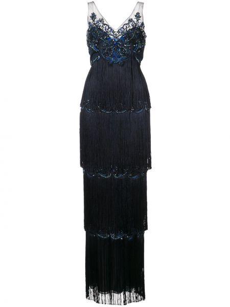 Нейлоновое синее вечернее платье с пайетками Marchesa Notte