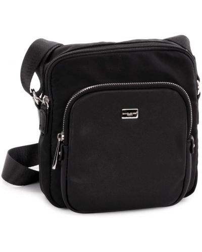 Текстильная сумка через плечо - черная David Jones