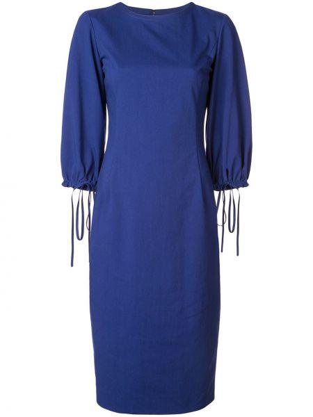 Синее платье миди с вырезом в рубчик Oscar De La Renta