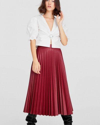 Плиссированная юбка красный Stradivarius