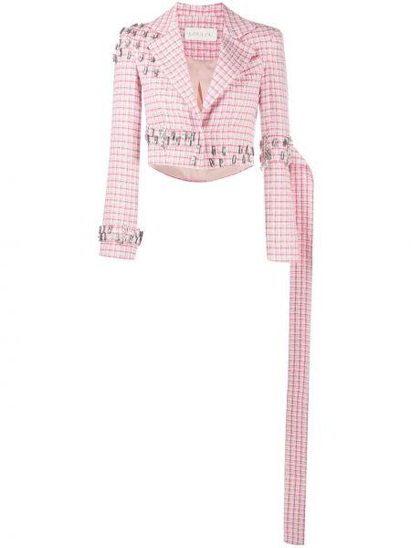 Розовый короткая куртка в клетку с лацканами Loulou