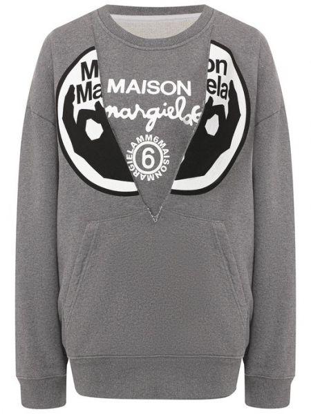 Хлопковый серый свитер с подкладкой Mm6