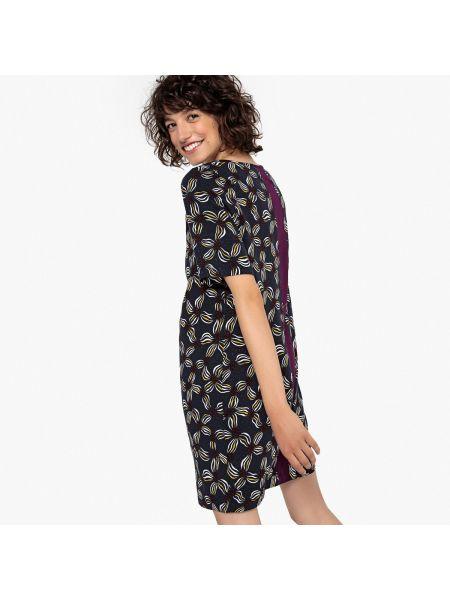 Платье мини с цветочным принтом в полоску La Redoute Collections