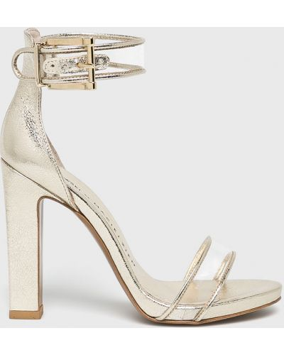 Босоножки на каблуке - золотые Baldowski