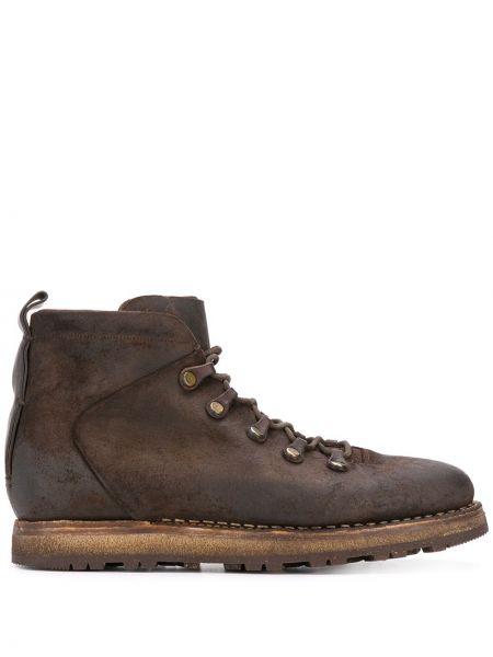Кожаные коричневые кожаные ботинки на шнуровке на каблуке Silvano Sassetti