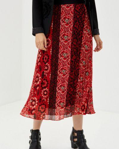 Красная плиссированная юбка Desigual