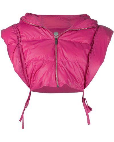 Розовая дутая куртка с капюшоном без рукавов Isabel Marant
