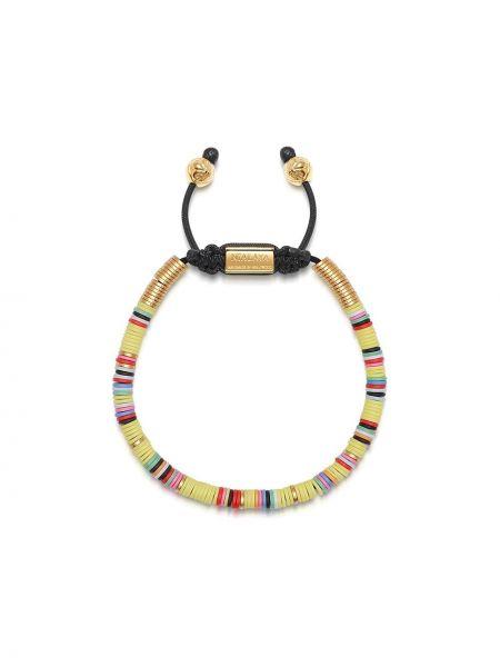 Желтый золотой браслет позолоченный с бисером свободного кроя Nialaya Jewelry