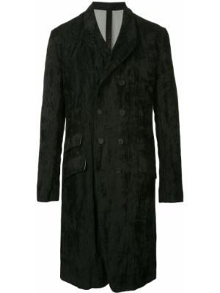 Черное пальто двубортное с карманами из вискозы Forme D'expression
