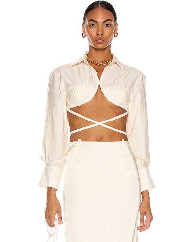 Biała koszula nocna bawełniana asymetryczna Jacquemus