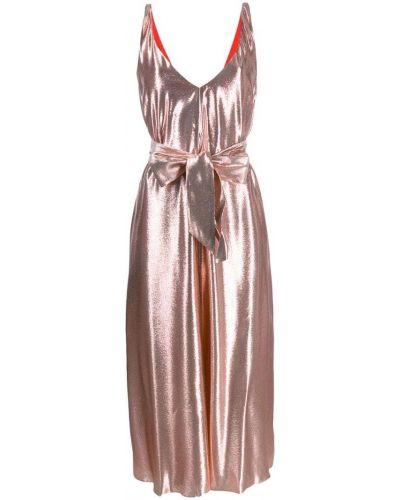Платье с поясом розовое с декольте Indress