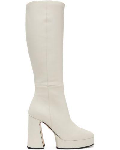 Różowy buty na platformie z prawdziwej skóry w połowie kolana na platformie Gucci