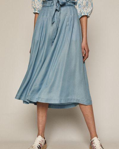 Niebieska spódnica midi rozkloszowana materiałowa Medicine