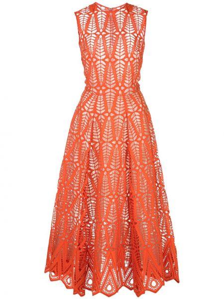 Платье миди в рубчик на молнии Oscar De La Renta