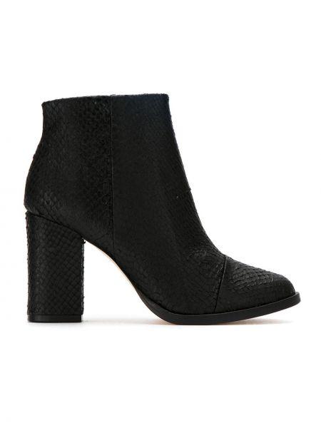 Черные сапоги без каблука на каблуке круглые винтажные Osklen