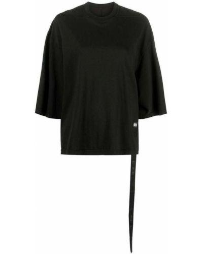 Prążkowana czarna podkoszulka bawełniana Rick Owens