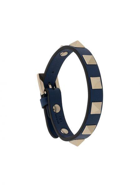 Srebro skórzany bransoletka z klamrą z prawdziwej skóry Valentino Garavani