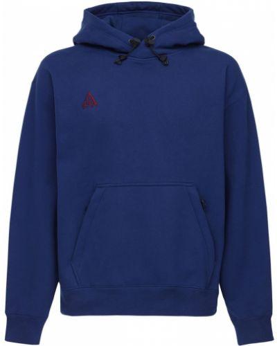 Niebieska bluza z kapturem bawełniana Nike Acg