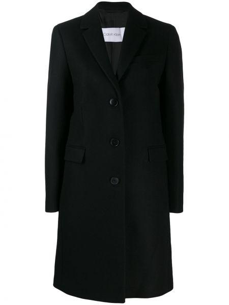 Шерстяное черное пальто классическое с капюшоном Calvin Klein
